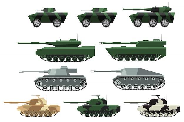 Um conjunto de tanques, montarias de artilharia, veículos blindados.