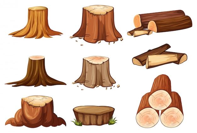 Um conjunto de toco de árvore e madeira