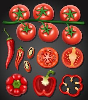 Um conjunto de tomate e pimenta