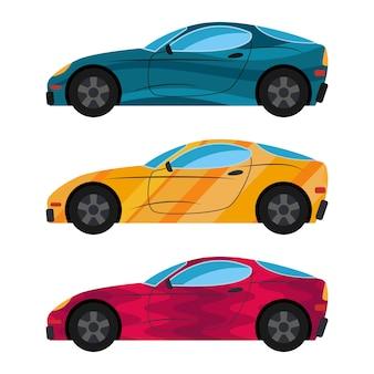 Um conjunto de três carros pintados em cores diferentes. ilustração vetorial