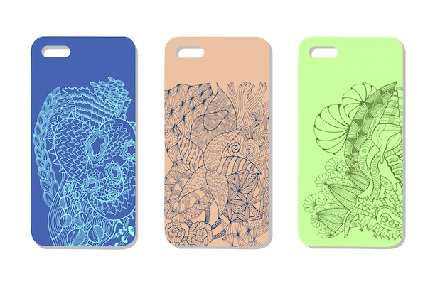 Um conjunto de três casos de telemóveis. de fundo vector em estilo zentangle. elementos de handdrawn.