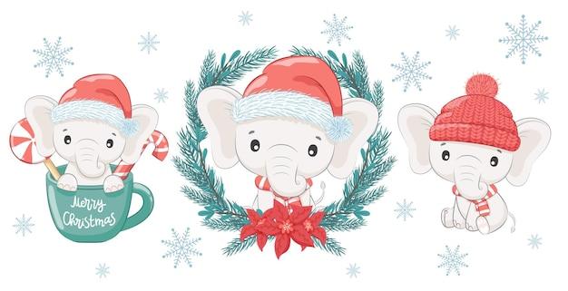 Um conjunto de três elefantes bebê fofos e doces para o ano novo e o natal. o menino elefante. ilustração em vetor de um desenho animado.