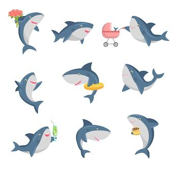 Um conjunto de tubarão bonito dos desenhos animados em diferentes ações. ilustração em estilo cartoon plana.