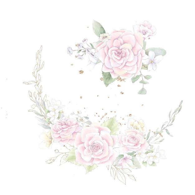 Um conjunto de uma coroa de rosas e orquídeas delicadas. ilustração em aquarela.