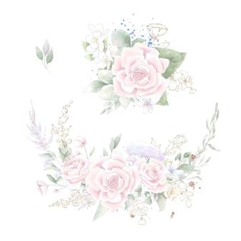 Um conjunto de uma coroa de rosas e orquídeas delicadas