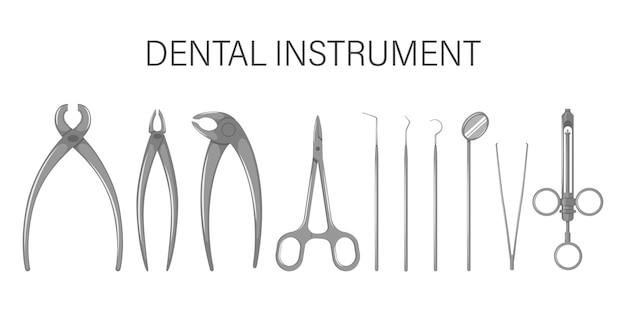 Um conjunto de utensílios odontológicos. isolado em um fundo branco.