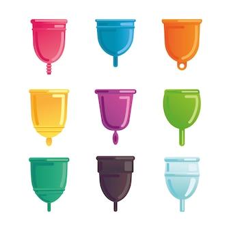 Um conjunto de vários copos menstruais. recolha de produtos de higiene mensal.