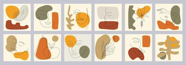Um conjunto de vários elementos e esboços desenhados à mão para seu projeto. rostos, folhas, flores, formas abstratas. estilo mínimo de pintura de linha. ilustração em vetor desenhada à mão moderna.