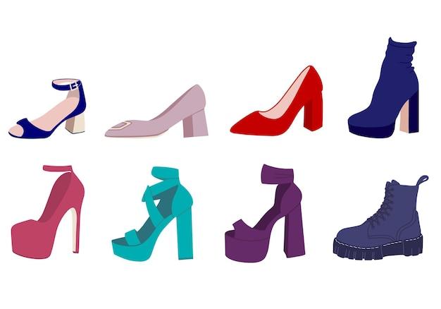 Um conjunto de vários sapatos femininos. ilustração vetorial
