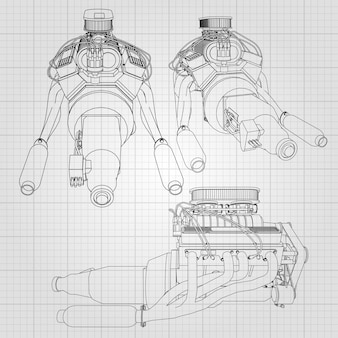 Um conjunto de vários tipos de motor de carro poderoso. o motor é desenhado com linhas pretas em uma folha branca em uma gaiola