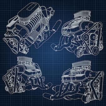 Um conjunto de vários tipos de potentes motores de automóveis. o motor é desenhado com linhas brancas em uma folha azul escura em uma gaiola.