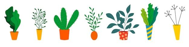 Um conjunto de vasos coloridos com flores. plantas de interior. ilustração vetorial em estilo simples