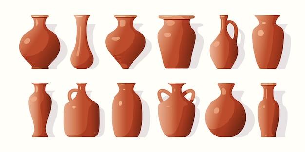 Um conjunto de vasos de barro de vários tipos de ilustração