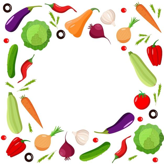 Um conjunto de vegetais orgânicos frescos, uma ilustração vetorial da colheita de outono.