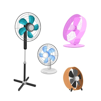 Um conjunto de ventiladores elétricos de vários tipos. aparelhos domésticos para refrigeração de ar.