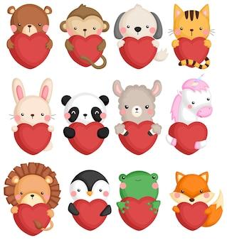 Um conjunto de vetores de muitos ícones de animais segurando um coração