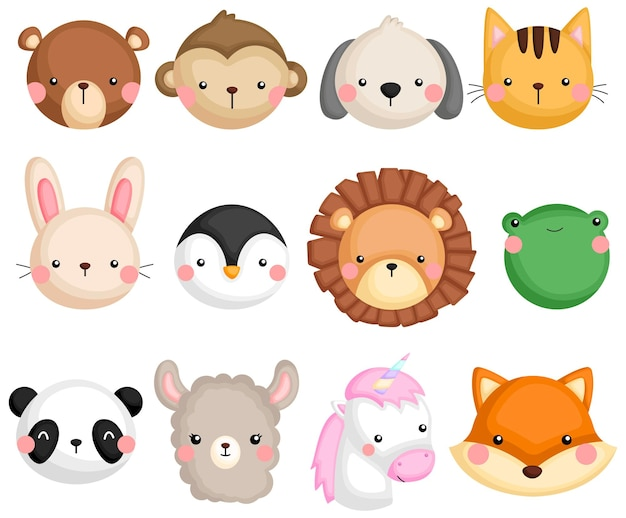 Um conjunto de vetores de muitos ícones de animais
