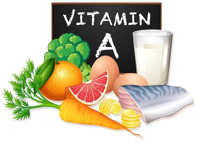 Um conjunto de vitamina a comida