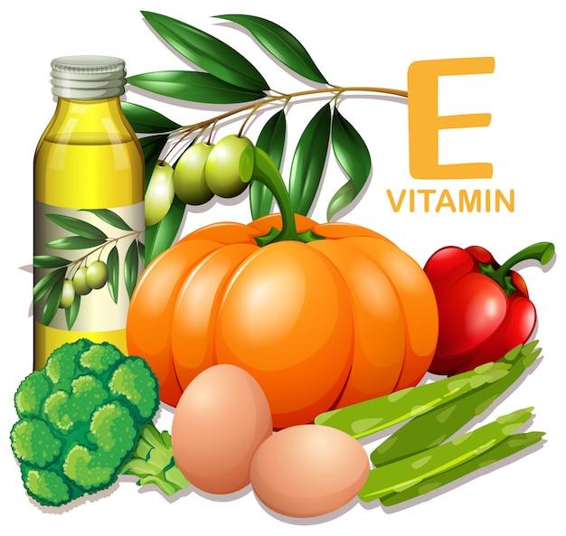 Um conjunto de vitamina e food