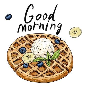 Um conjunto para o café da manhã ou sobremesa. waffles com recheios. bagas, frutas, sorvete e creme. desenhado à mão