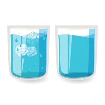 Um copo de água e água gelada