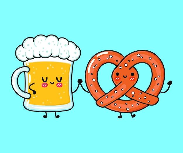 Um copo de cerveja e um pretzel engraçado e engraçado