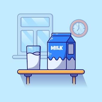 Um copo de leite e uma caixa de leite em uma mesa para o café da manhã