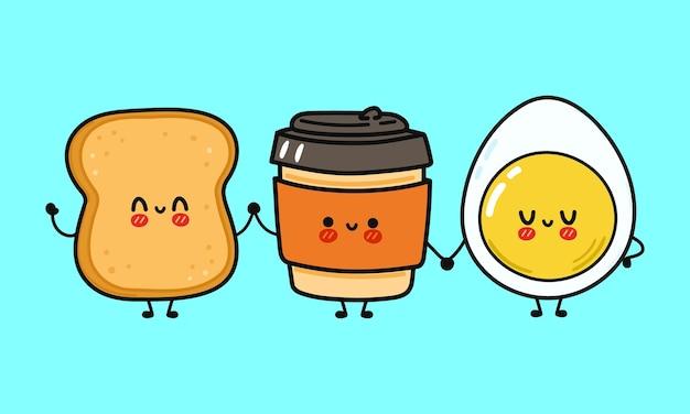 Um copo de papel de café fofo engraçado e feliz, torrada e personagem de ovo