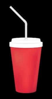 Um copo de refrigerante em branco