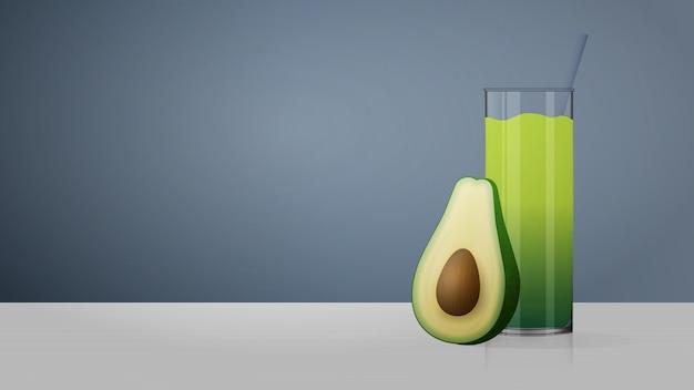 Um copo de suco de abacate em cima da mesa. smoothies. meio abacate com osso. fundo cinza com lugar para texto. ilustração