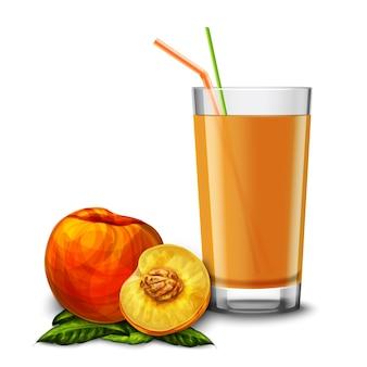 Um copo de suco de pêssego