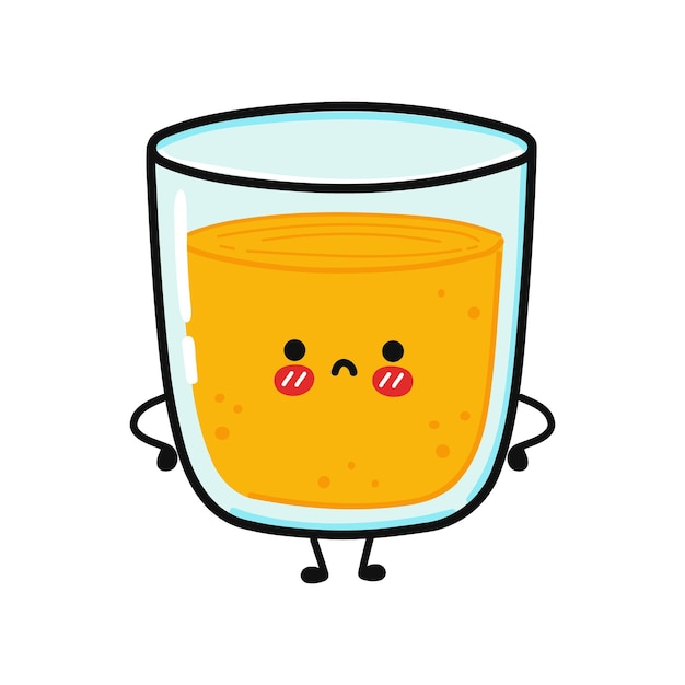Um copo de suco fofo e triste