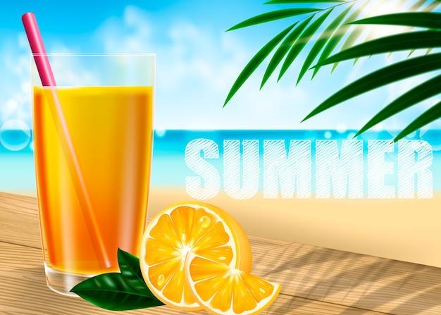 Um copo de sumo de laranja