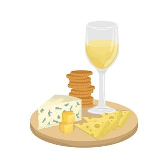 Um copo de vinho branco, prato de queijo em uma placa de madeira com biscoitos. maasdam, gouda, roquefort.