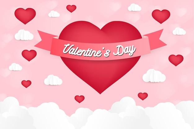 Um coração em forma de papel arte estilo amor dia dos namorados origami feito balão de ar quente