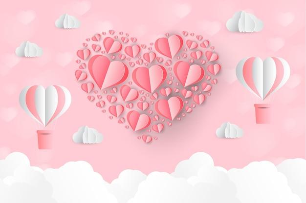 Um coração em forma de papel arte estilo dia dos namorados origami feito balão de ar quente