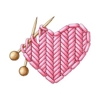 Um coração vermelho de malha e duas agulhas de tricô