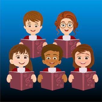 Um coro de crianças cantando