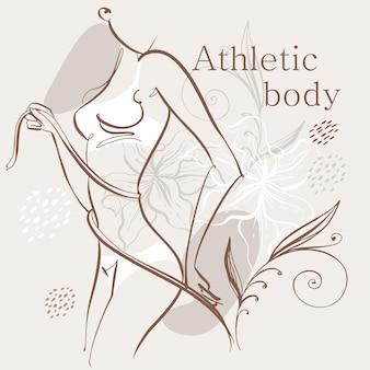 Um corpo esportivo. arte linear. uma linda garota é desenhada com uma linha. fitness. vetor.