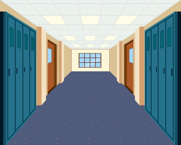 Um corredor da escola moderna
