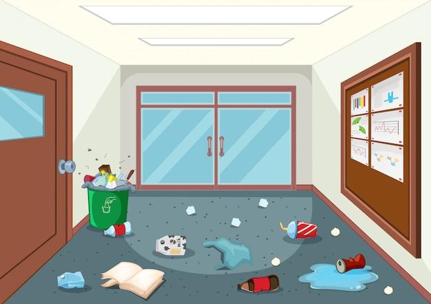 Um corredor sujo da escola