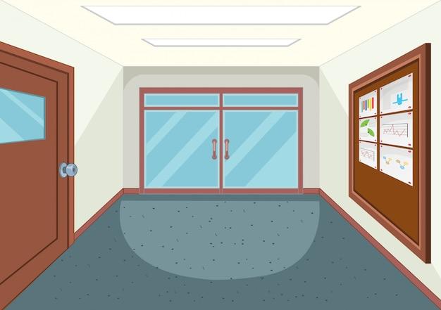 Um corredor vazio da escola
