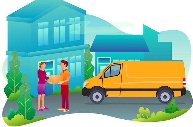 Um correio está entregando mercadorias a uma casa de destino