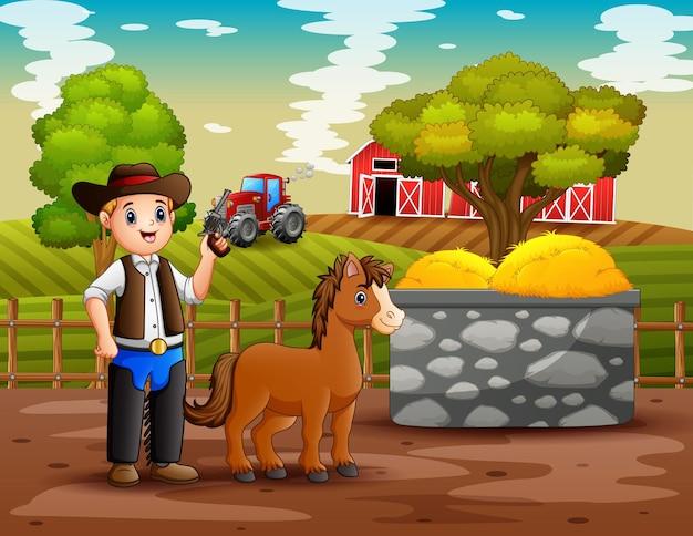 Um cowboy com seu cavalo na ilustração da fazenda Vetor Premium