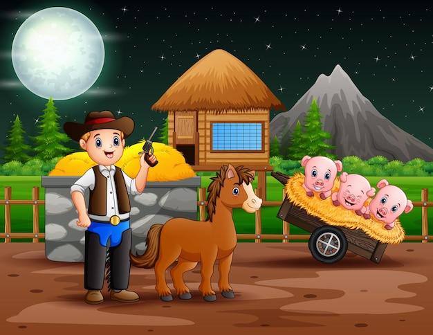 Um cowboy com seu cavalo na ilustração da fazenda