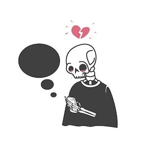 Um crânio segurando um celular e coração partido
