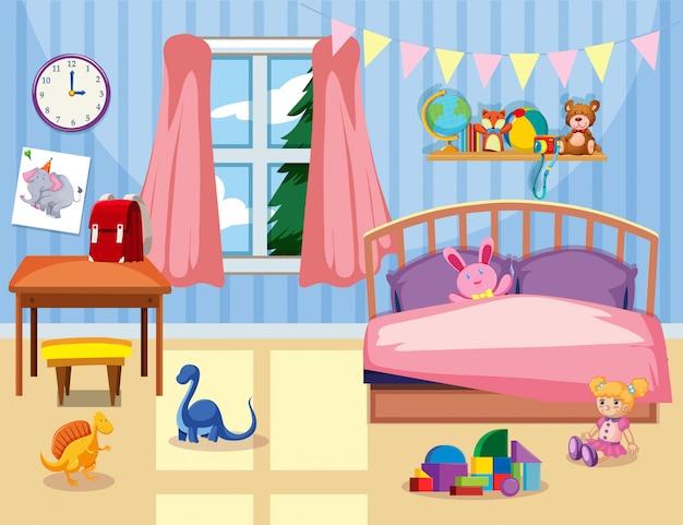 Um, crianças, quarto, interior