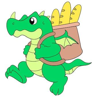 Um crocodilo caminhava carregando uma cesta cheia de muito pão, ilustração vetorial. imagem de ícone do doodle kawaii.