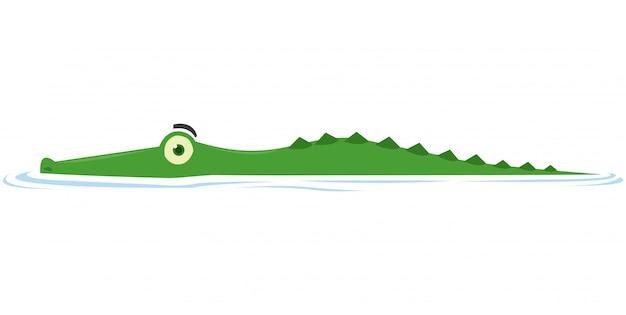 Um crocodilo espreita a presa no lago