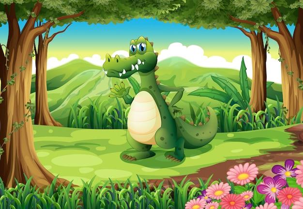 Um crocodilo na floresta